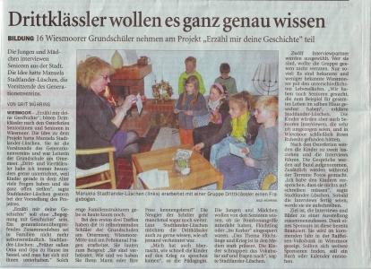"""Beitrag der OZ zum Projekt """"Erzähl mir deine Geschichte"""" vom 17.03.2016"""