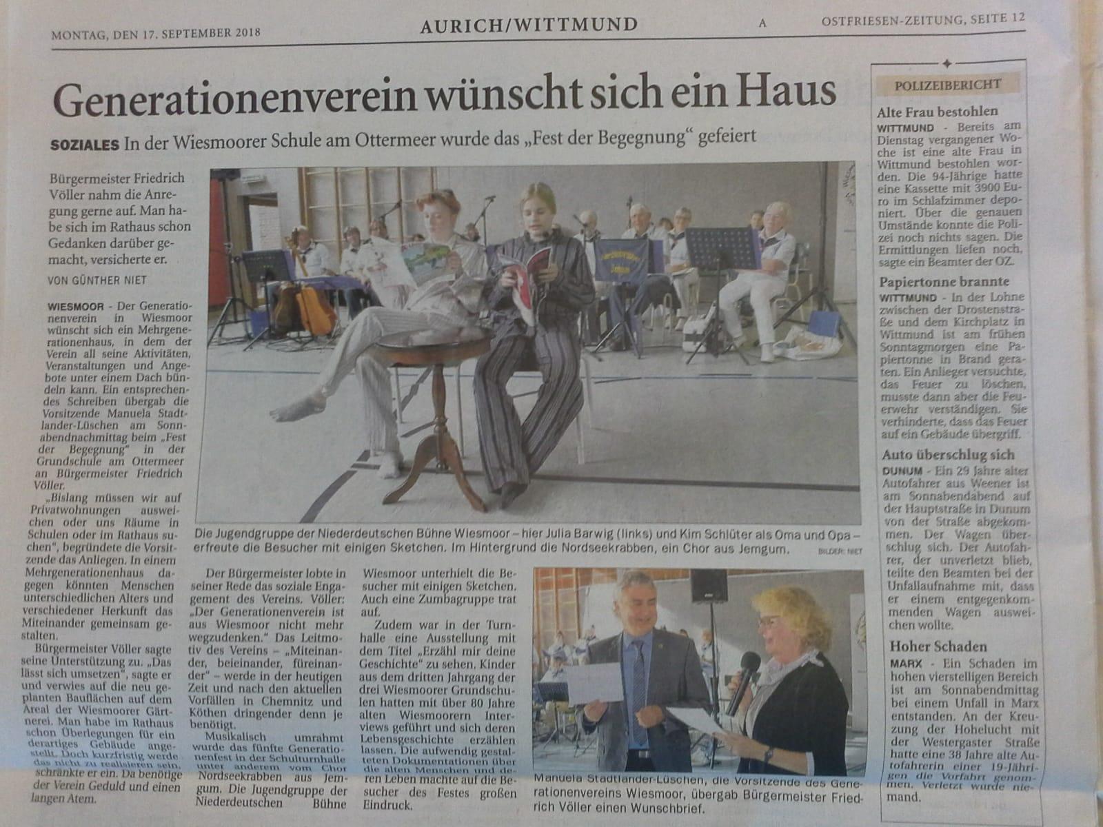 Generationenverein wünscht sich ein Haus - Ostfriesen-Zeitung vom 17.10.2018