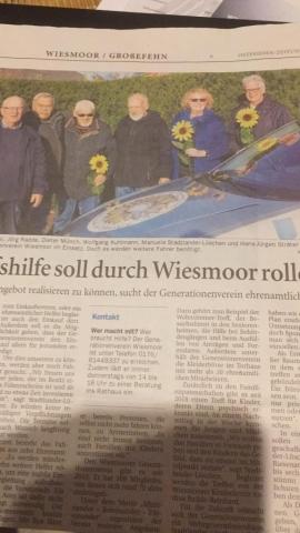 Einkaufshilfe soll durch Wiesmoor rollen -- Quelle: Ostfriesen-Zeitung vom 08.01.2019,  Beitrag: G. Mühring