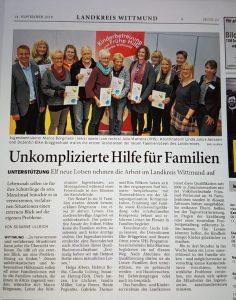 Unkomplizierte Hilfe für Familien - Familienlotsen ausgebildet. Quelle: Ostfriesen-Zeitung vom 14.11.2018