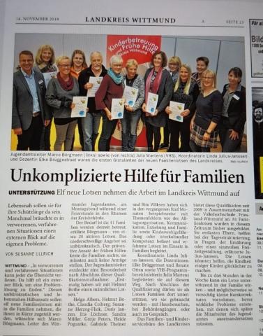 Familienlotsen erfolgreich ausgebildet. Quelle: Ostfriesen-Zeitung vom 14.11.2018.