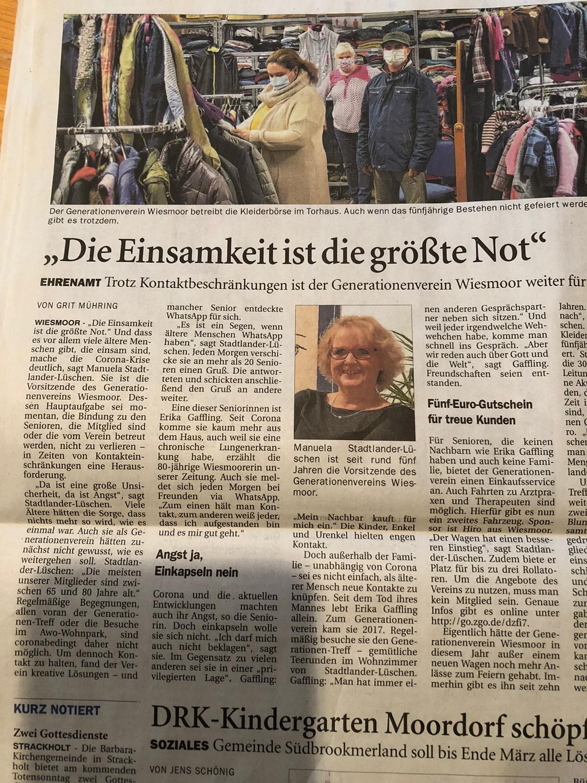 """""""Die Einsamkeit ist die größte Not"""" - OZ vom 19.11.2020 Quelle: Ostfriesen Zeitung"""